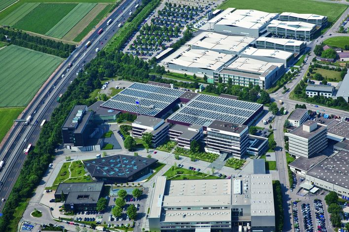 aerophoto of the campus of TRUMPF headquarters in Ditzingen Germany