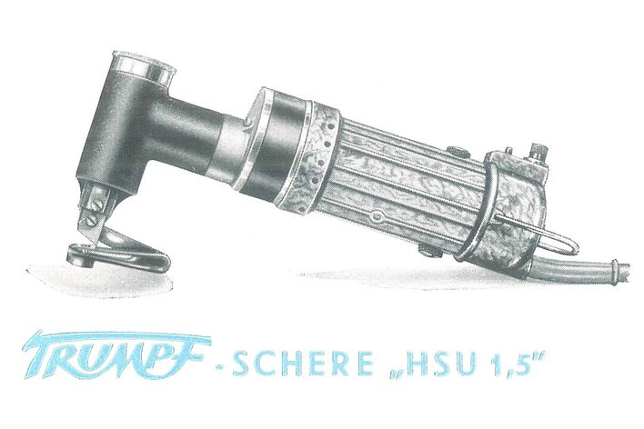 historical picture of a hand-guided machine from TRUMPF