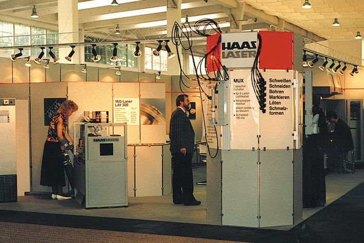 historical picture of Haas Laser at a trade show