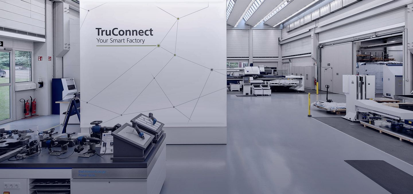 TRUMPF show room in Ditzingen with TruConnect banner