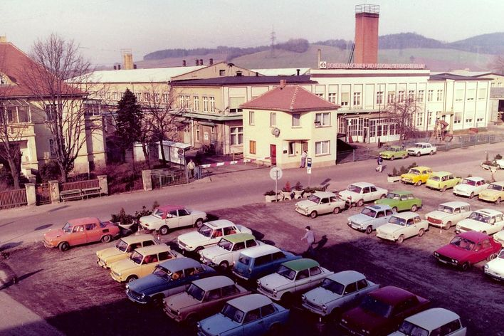 historical picture of the former building of TRUMPF in Neukirch