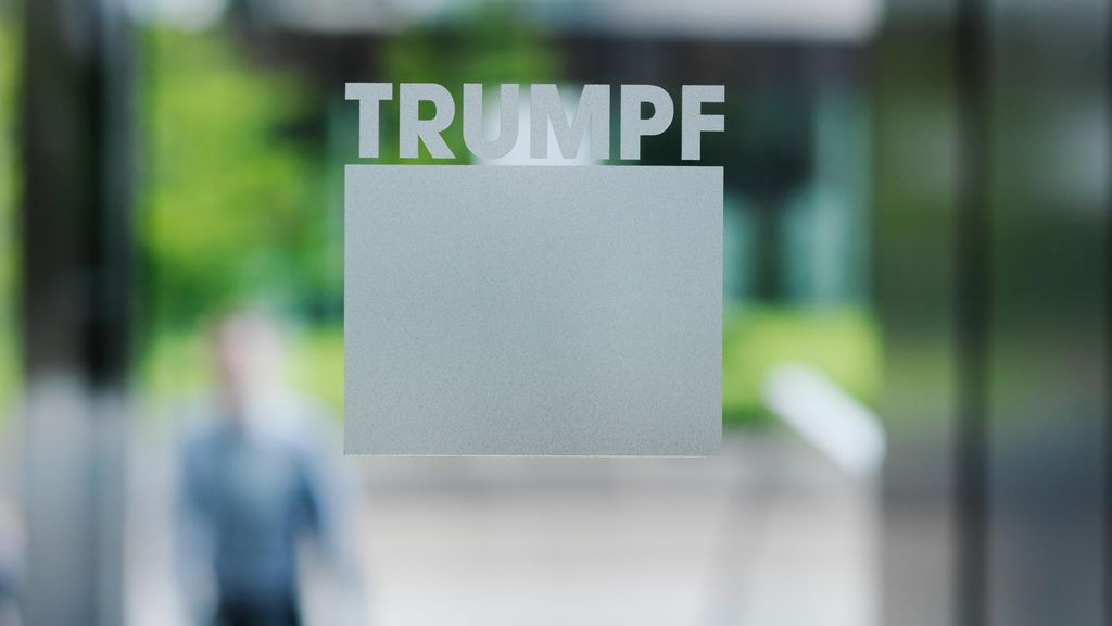 TRUMPF Logo at the headquarters main entrance