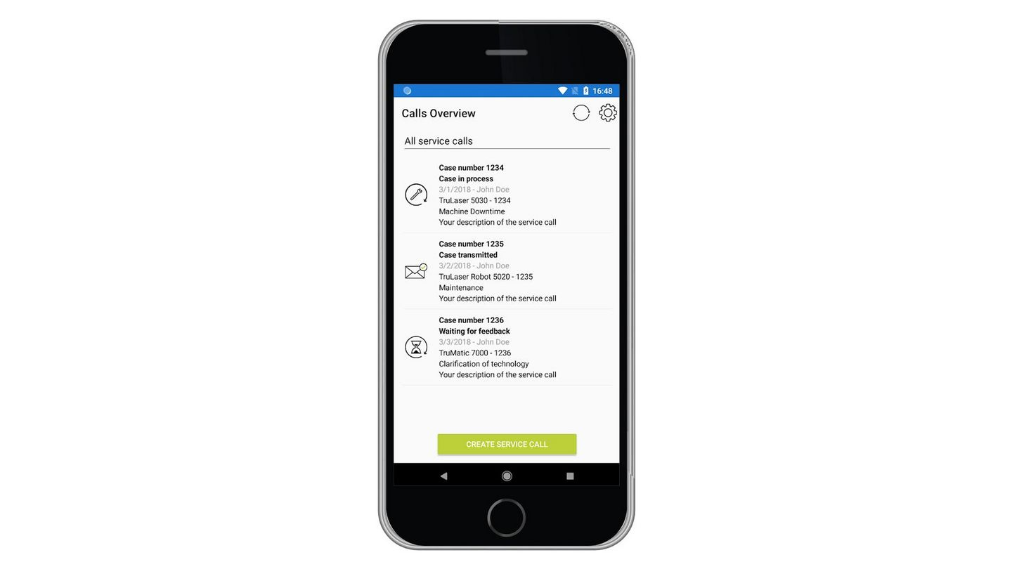 Service app, incident overview