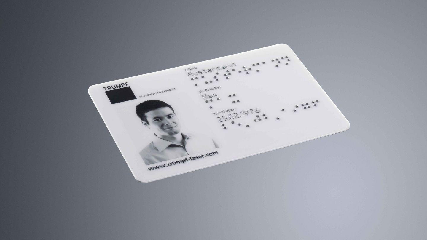 TRUMPF laser marking on plastic ID card