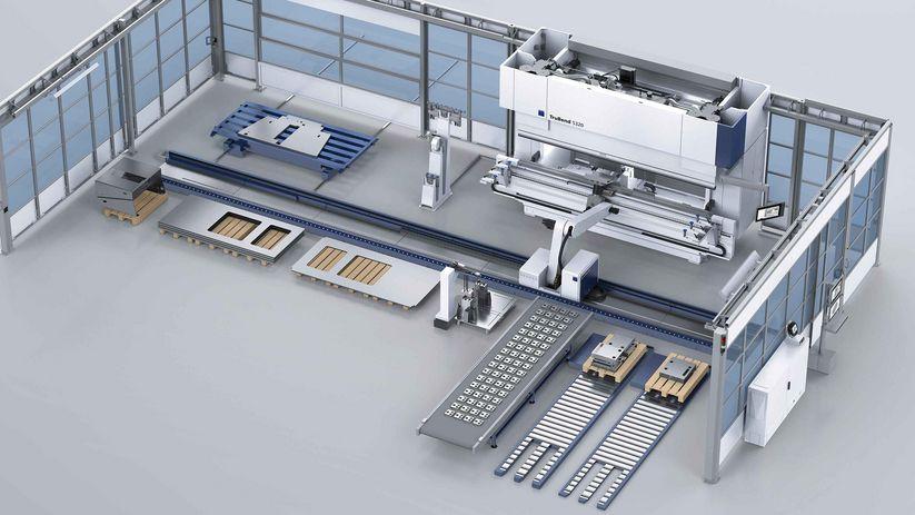 TruBend Cell 5000, pallet conveyor