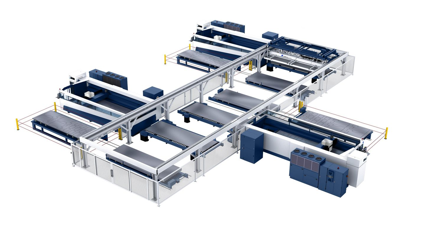 LiftMaster Linear, multiple-machine connection with three TruLaser 5060 machines