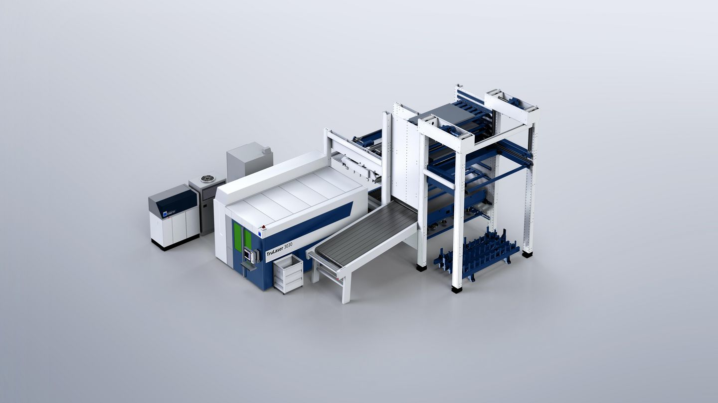 TruStore Series 3000, connection of a TruLaser 3030 fiber laser machine to the TruStore system with LiftMaster Compact and PartMaster