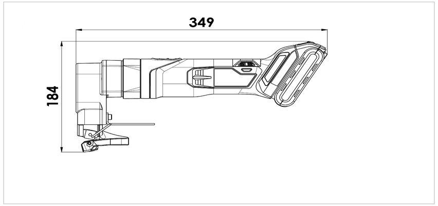 Dimensional drawing of TruTool S 250 Li-ion