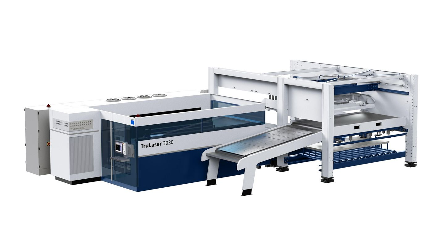 The TruLaser 3030 in longitudinal layout with a LiftMaster Compact and PartMaster