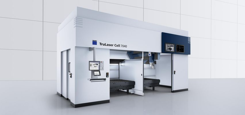 Open machine interior of the TruLaser Cell Series 7000